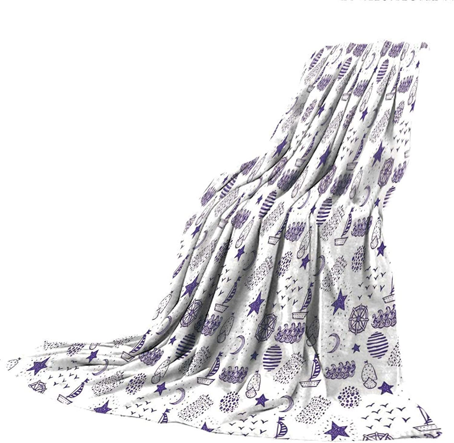 SCOCICI SuperThick Flannel Warm Sofa or Bed Blanket,Nautical,Hand Drawn Boat Stars Flying Gulls Crescent Moon Shell Waves Kids Girls Cute Pattern,Purple,39.37  W x 59.06  H
