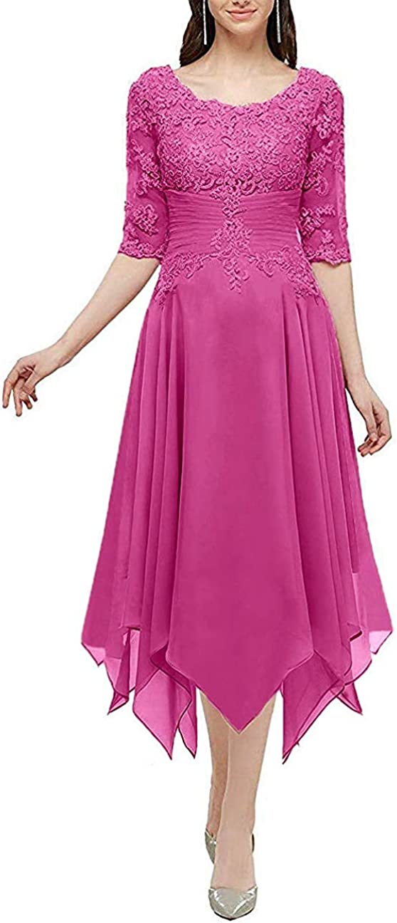 Clothfun Lace Chiffon Long Formal Dresses for Women Half Sleeves Mother of The Bride Dresses