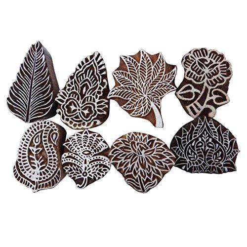 Knitwit Hand Geschnitzte Holzdruckstock Dekorative Blöcke Textil-Stempel Menge 8 Stück