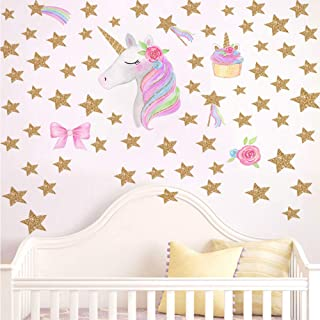Colorful Unicorn Wall Decal, Horse Unicorn Sticker with Flower Star Decal,Fairytale Wall Decals for Girls Bedroom Home Decor