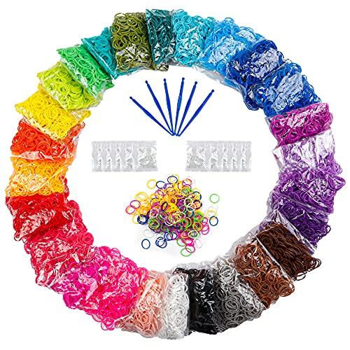 12730+ Loom Rubber Bands Refill Kit in 26 Color, 500 Clips, 6 Hooks, Premium Bracelet Making Kit for Kids Weaving DIY Crafting Gift