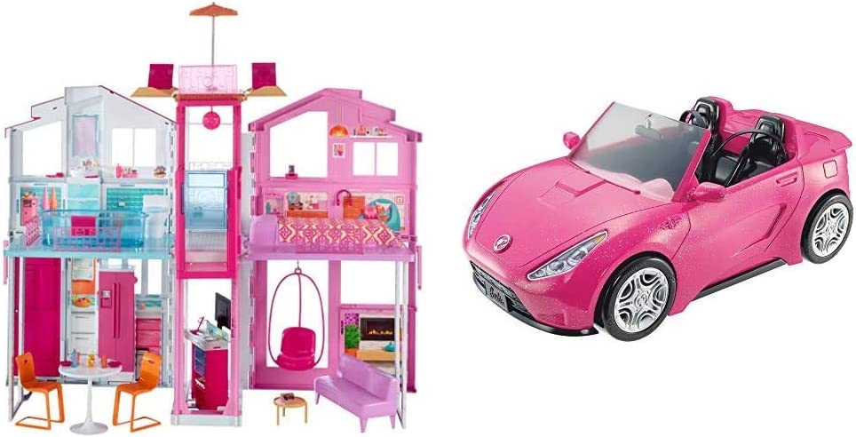 Barbie 3-Story Townhouse AND Barbie Glam Convertible
