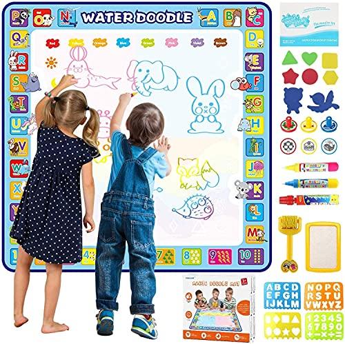 Tappetino Doodle 100×100 cm, Tappeto Magico Bambini, Magico Acqua Doodle, Grande Acqua Doodle Tappeto Bambini, con Penne Magiche, Francobolli, Stampi da Disegnare, Giocattolo Educativo & Regalo
