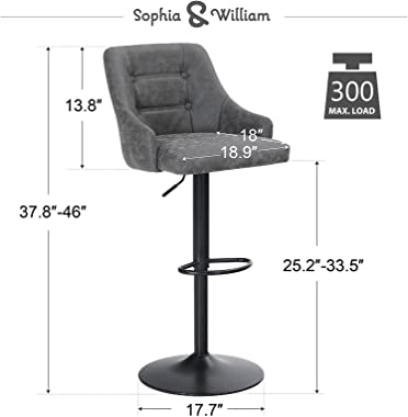 Sophia & William Bar Stools Set of 2 Counter Height, Adjustable Swivel Barstools with Back Bar Height, Modern PU Leather