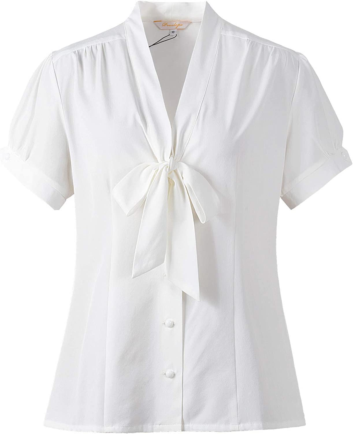 Womens Pussy Bow Blouse Tie Neck Short Sleeve Shirt 1940s Retro Vintage Style Tops