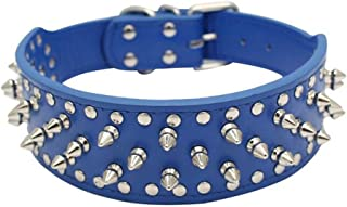 "BTDCFY PU Leather Adjustable Spiked Studded Dog Collar 2"""