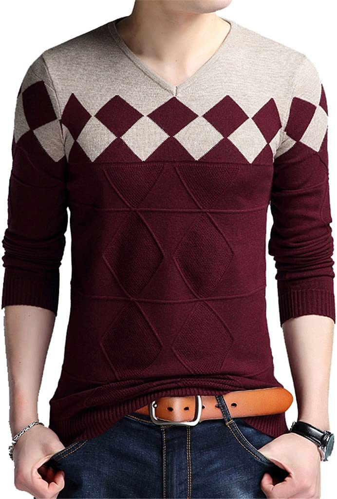 AAKKY Autumn Vintage Sweater Men Collarless Sweater V-Neck Casual Slim Sweaters Men for Business (Color : Red, Size : XL Code)