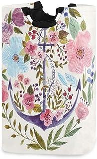 N\A Ancres Nautiques Ancre avec Fleurs Porte-Panier à Linge étanche, Grand Panier de Sac à Linge Pliable pour vêtements Sa...