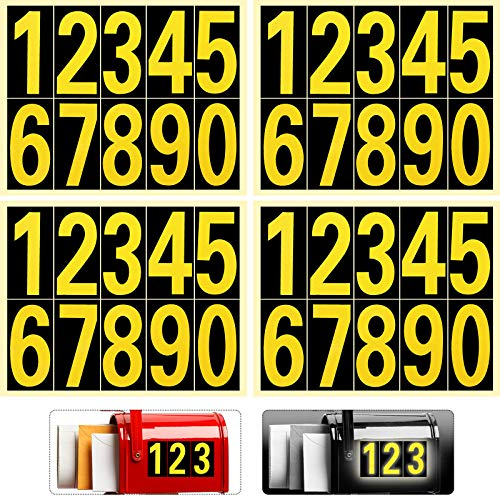 40 Pieces Reflective Mailbox Number Sticker Decal Adhesive Reflective Address Numbers Number 0-9 Waterproof and Fade-Resistant for Window, Signs, Door, Cars (Black, Gold, 3 Inch)