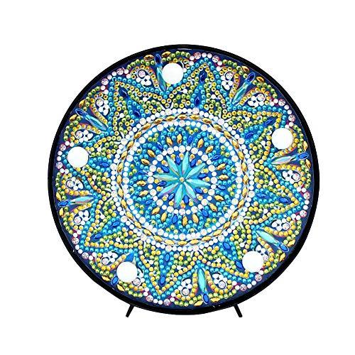 Kit de pintura de diamante Mandala con luz LED de noche hecha a mano 5D Full Drill Crystal Drawing Kit de lámpara de noche para decoración del hogar o regalos - 5.91 x 5.91 pulgadas