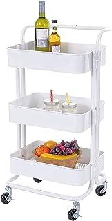 Desserte à roulettes Support De Rangement Domestique Blanc À 3 Niveaux, Chariot De Rangement Roulant Rotatif À 360 °, Orga...