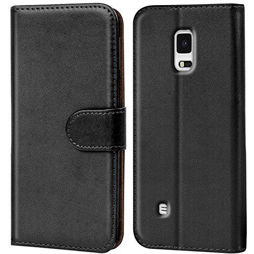 Conie Handyhülle für Samsung Galaxy Note 4 Hülle, Premium PU Leder Flip Hülle Booklet Cover Weiches Innenfutter für Galaxy Note 4 Tasche, Schwarz
