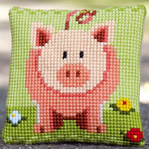 Vervaco kleines Glücksschweinchen Kreuzstichkissen/Stickkissen vorgedruckt, Baumwolle, Mehrfarbig, 25 x 25 x 0.3 cm