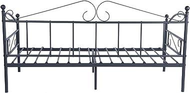 DORAFAIR Lit de lit avec sommier à lattes en métal et cadre de lit pour chambre à coucher salon Noir
