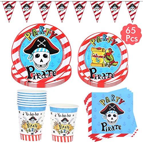 Amycute 94-teiliges Piraten Geburtstag Party Dekoration,Piraten Banner , Tellern, Tassen, Servietten, Löffel, Gabeln und Messern für 12 Personen.