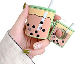 BONTOUJOUR AirPods Case, Super Cute Creative Drink Milk-Tea Cup Shape TPU Silicone Cover Protective Skin for Apple AirPods+Finger Lanyard-Green
