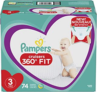 Diapers Size 3, 74 Count - Pampers Pull On Cruisers 360° Fit Disposable Baby Diapers with Stretchy Waistband, Super Pack