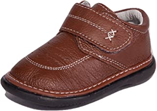 Little Mae's Boutique Brown with White Stitching Leather Boy Sneaker Squeaky Shoes