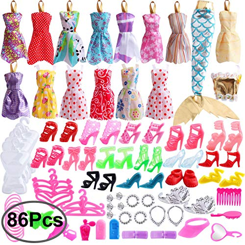 Outee 86 Pcs Doll Clothes Set for Party Grown Outfit Including 16 Pcs Clothes 70 Pcs Accessories for Girls Kids Party Birthday Gifts