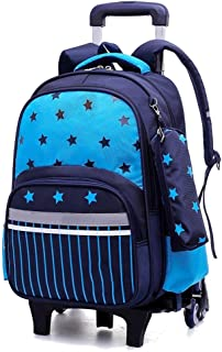 ZLSANVD Trolley Schoolbag - Student Waterproof Nylon Backpack with Detachable Wheel Trolley Bag Six Wheels Stairs Reduced Detachable Dual-Purpose Backpack (Color : Blue)