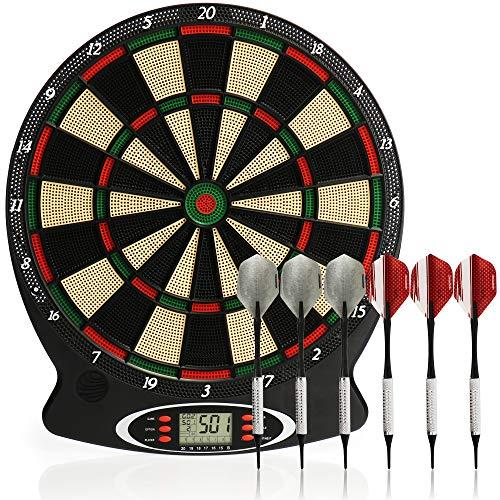 com-four® Diana electrónica, Diana inalámbrica con 6 Dardos Suaves y Puntas de Repuesto, máquina de Dardos electrónicos con 18 Juegos y 159 Variantes de Juego, para hasta 8 Jugadores de Dardos