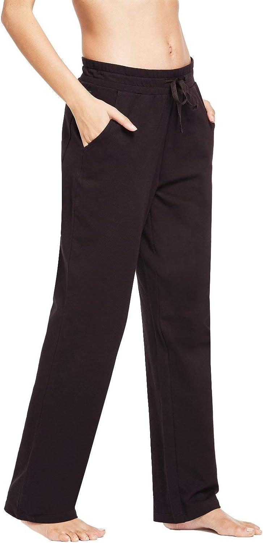 BALEAF Damen Thermo Jogginghose Sweathose Yogahose mit Eingriffstaschen und geradem Bein