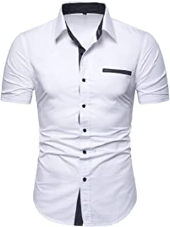 Mens Casual Button Down Shirts Short Sleeve Regular Fit Inner Contrast Dress Shirt