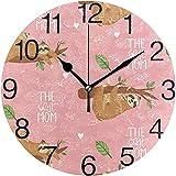 L.Fenn Reloj De Pared Redondo De Diseño De Madre Y Bebé, Pintura Al Óleo Silenciosa Sin Tictac Decorativa para Arte De Reloj Escolar De Oficina En Casa