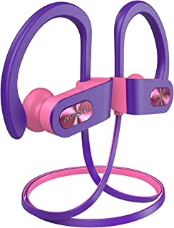 Mpow Flame Bluetooth Headphones V5.0 IPX7 Waterproof Wireless Headphones, Bass+ HD Stereo Wireless Sport Earbuds, 7-9Hrs Playtime, cVc6.0 Noise Cancelling Mic for Home Workout, Running,Gym PinkPurple