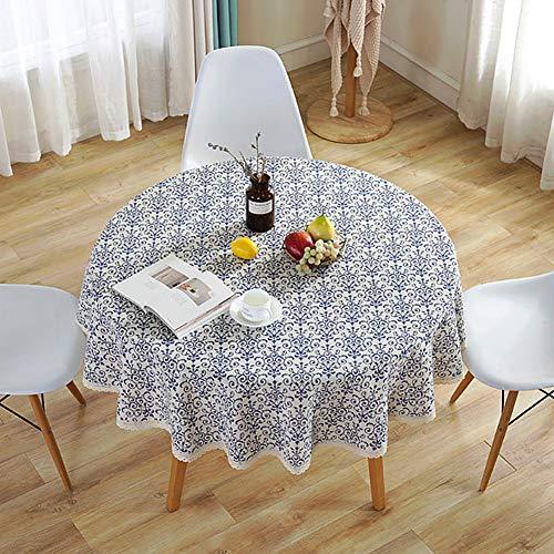 Meiosuns Manteles Mantel de Porcelana Azul y Blanca Manteles de Mantel de Lino Limpio a Prueba de Agua en AlgodóN para Cocina/Almuerzo/Fiestas/ManteleríA de Mesa de Picnic (Diameter 100cm)