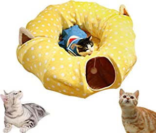 AUOON Cat Tube and Tunnel with Central Mat for Cat Dog,  Soft Mink Cashmere and Full Moon Shaped,  Length 98 Diameter 9.8,  2 Color