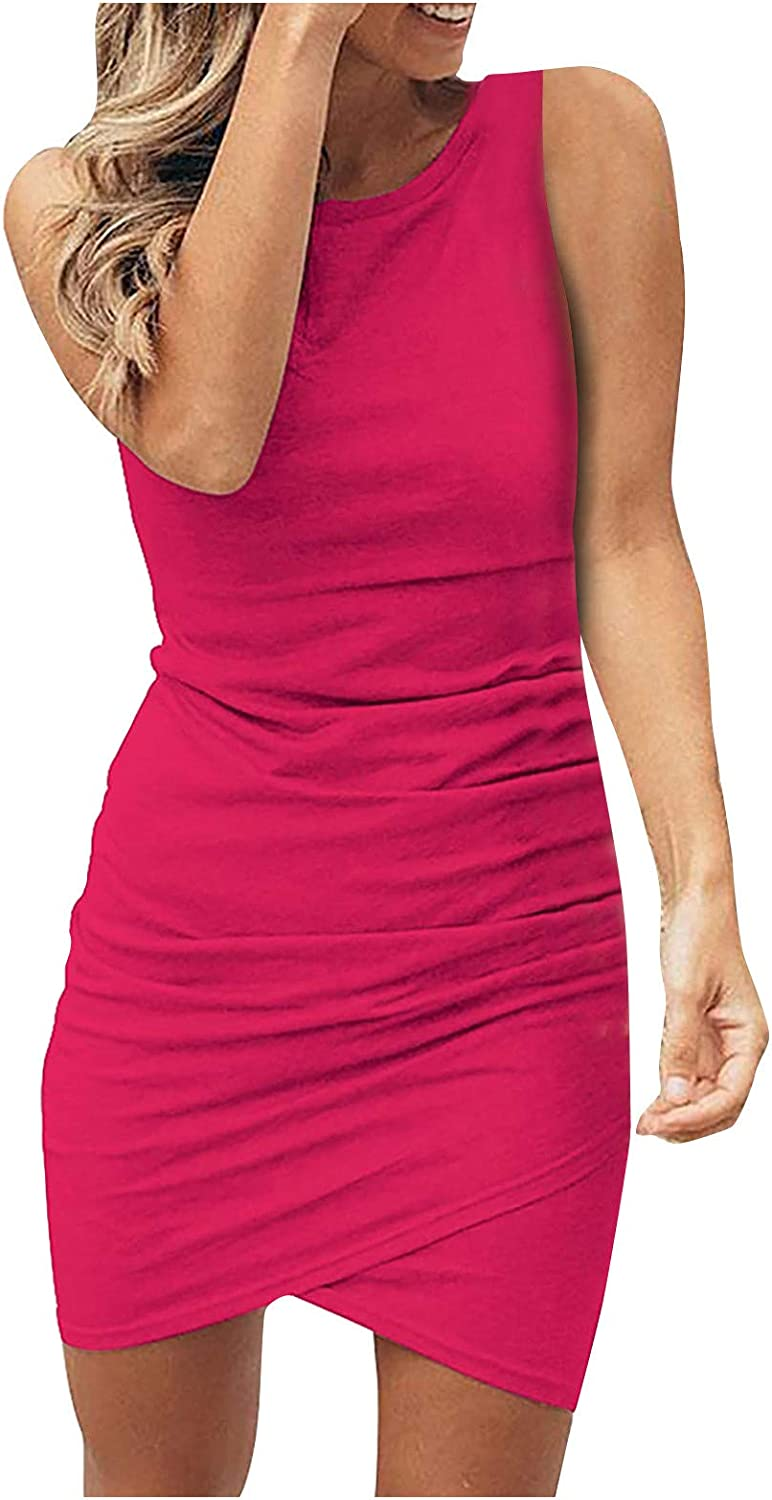 Women Casual Sexy Crew Neck Ruched Sleeveless Tank Solid Color Fashion Cross 2021 Summer Shirt Short Mini Dresses