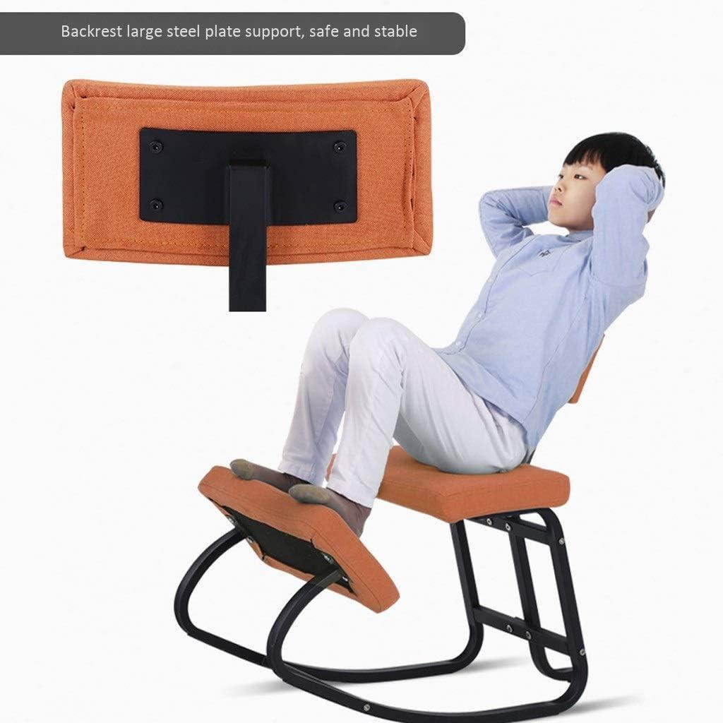 XLGJCWQY Chaises à Genoux Tabouret de Bureau Ergonomique Chaise de Bureau d'ordinateur pour Dossier Support orthopédique pour la méditation (Couleur: Orange) Gray