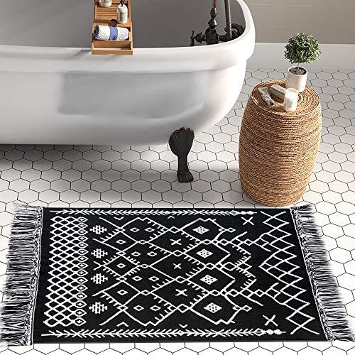 Boho Bathroom Rug, 2x3 Bohemian Rug Black White Bath Mat, Woven Washable Cotton Small Throw Rug Decorative Porch, Tassel Rug for Kitchen Laundry Doorway Bedroom