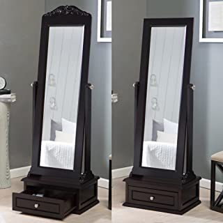 Belham Living Removable Decorative Top Cheval Mirror - Espresso - 21.5W x 60H in.