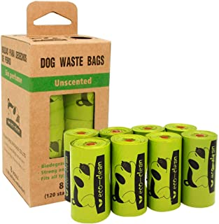 ECO-Clean Poop Bags Biodegradable Dog Waste Bags 8 Rolls/120 Counts Unscented Leak-Proof Easy Tear-Off