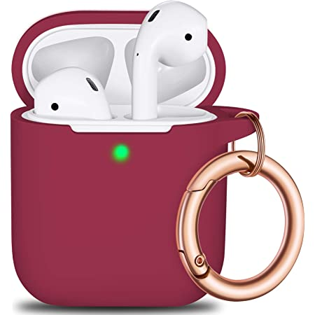 AirPods Case Cover Keychain, Full Protective Silicone AirPods Accessories Skin Cover for Women Girl with Apple AirPods Wireless Charging Case,Front LED Visible-Wine red