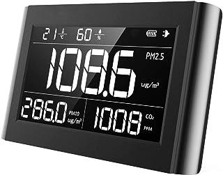 空気質検出器 PM2.5用空気質モニターPM10 CO2温度湿度屋内、キッチン、車、および大型VA LCDスクリーンを備えた特別な作業環境に使用される空気質検出器(P-1000)
