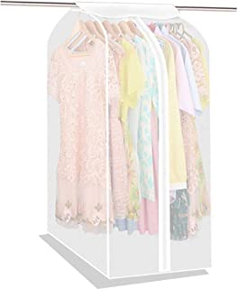 Large PEVA Translucent Clothing Dustproof Cover Wardrobe Hanging Storage Bag Garment Rack Cover Dustproof Protector with Magic Tape and Zipper (HZC71)