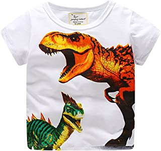 WOCACHI Toddler Kids Boys Tshirt, Baby Boys Clothes Short Sleeve Dinosaur Shark Print Tops Blouse