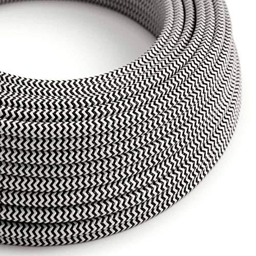 creative cables Fil Électrique Rond Gaine De Tissu De Couleur Effet Soie Zigzag Noir RZ04-5 mètres, 2x0.75