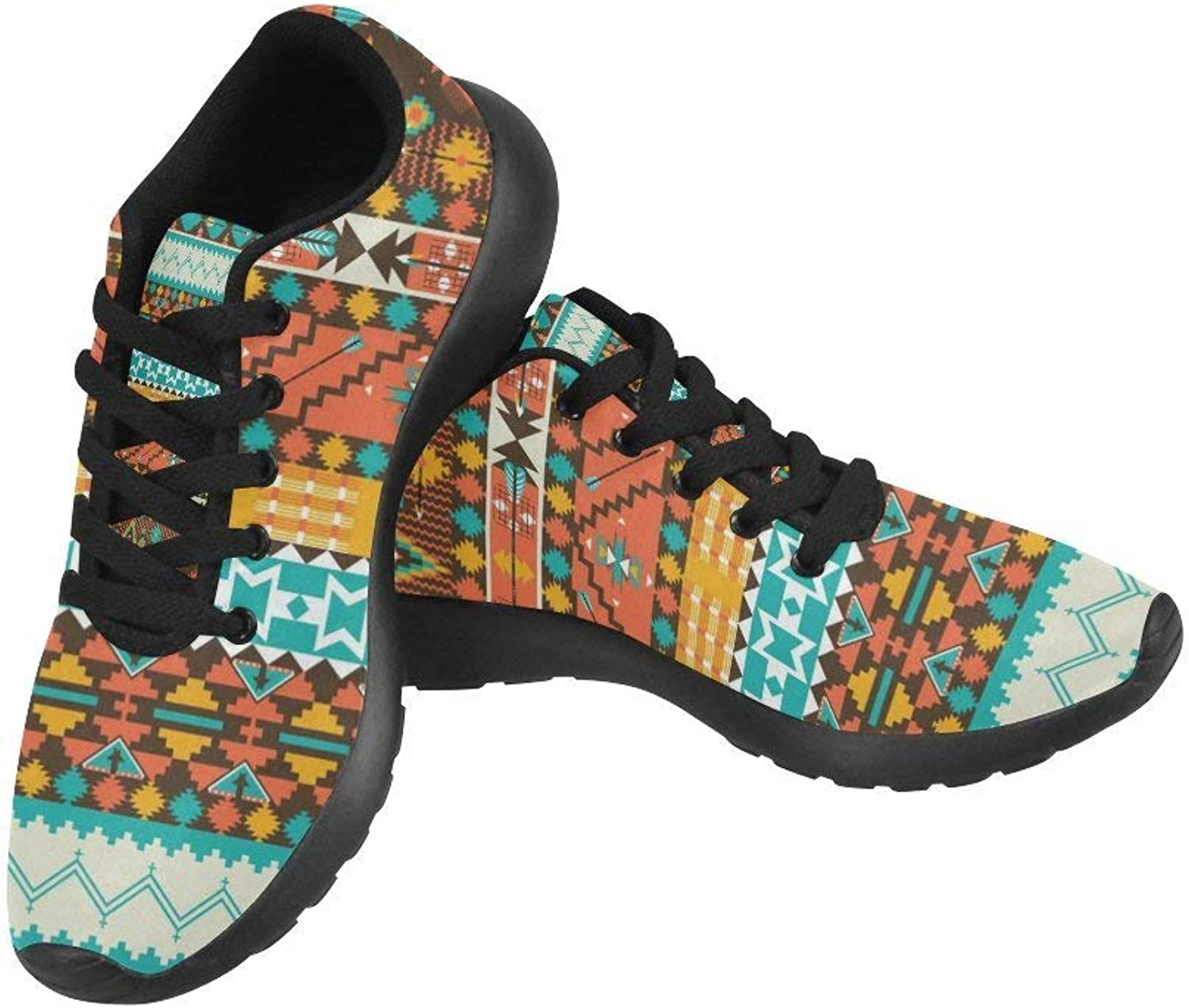InterestPrint color Navajo Design Pattern Print on Women's Running shoes Casual Lightweight Athletic Sneakers US Size 6-15
