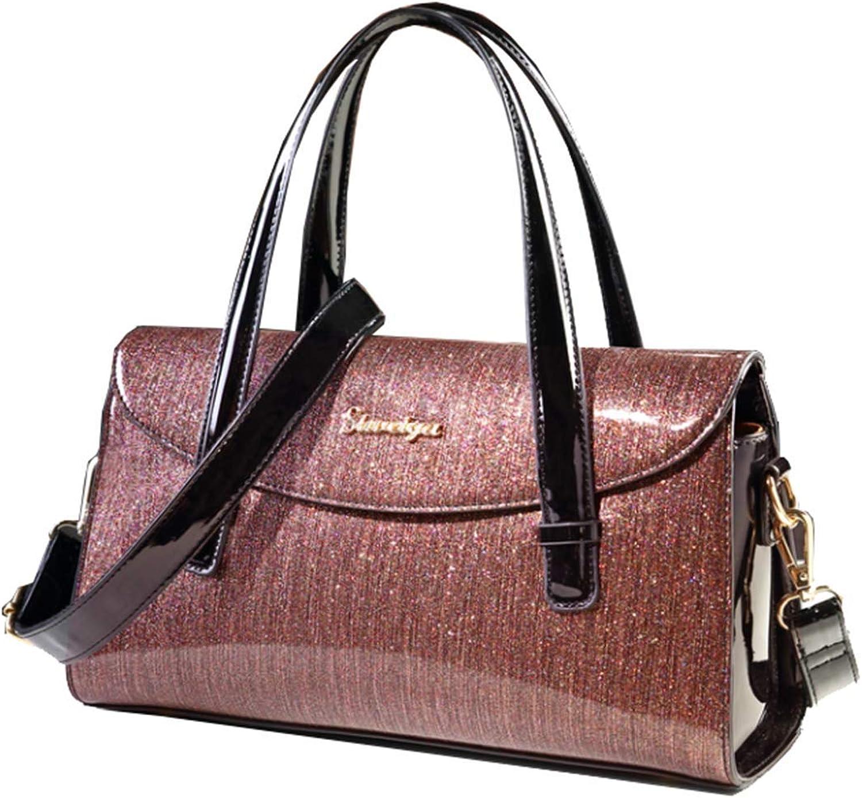 Yan Show Women's Patent Leather Elegant Handbag Stylish Shoulder Bag Totes Travel Bag Beautiful starry sky