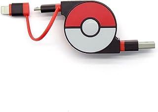 cheero 2in1 Retractable USB Cable with Lightning & micro USB Pokemon version (Red) MFi取得 巻き取り式 充電ケーブル 急速充電 データ転送 ライトニング マイクロUSB 70cm