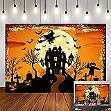 Avezano Halloween Backdrop 7x5ft Orange Night Moon Background Bat Castle Devil Pumpkin Happy Halloween Backdrops Witch Graveyard Photography Background Halloween Party Decoration