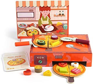 TOP BRIGHT Pizza Toy, Wooden Pizza Pretend Play Food Set with Toppings & Oven for Toddlers 2 3 4 Year Old Girls&Boys