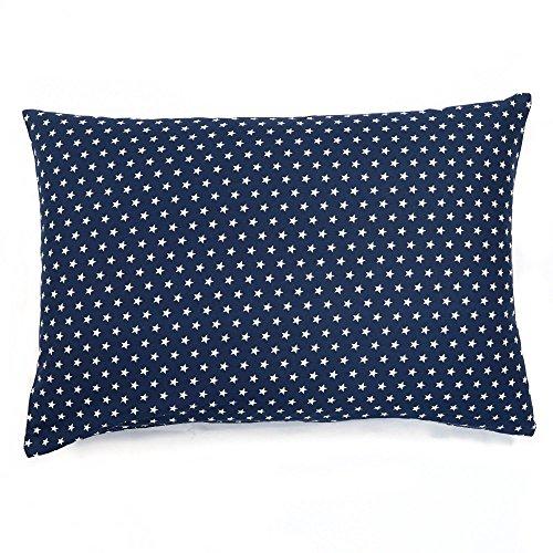 Sugarapple Kinder Kissenbezug 40x60 cm mit Reißverschluss, Kissen Bezug aus 100{6e25fbe6fc7b52d2ebe5af8fdc72a65430f07e4d6e69ec1fd6b3b5af9c77a05f} Öko-Tex Standard 100 Baumwolle, ideal als Bezug für Dekokissen, Sitzkissen oder Kopfkissen, dunkelblau weiße Sterne