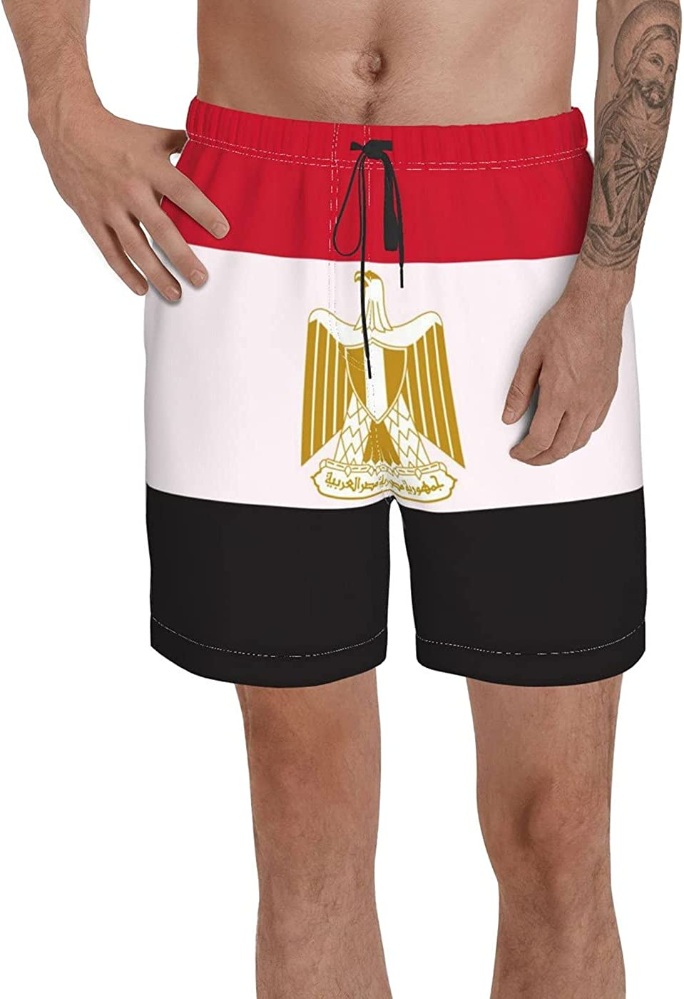 Count Egypt Flag Men's 3D Printed Funny Summer Quick Dry Swim Short Board Shorts with