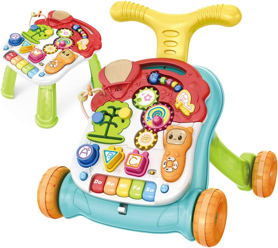 Story Phone Educational Toys,Baby Music Toy Set-Kids Educational Games Piano CISAY Sit-to-Stand Learning Walker,2 in 1 Educational Push Toy for Babies,Lighting and Music White