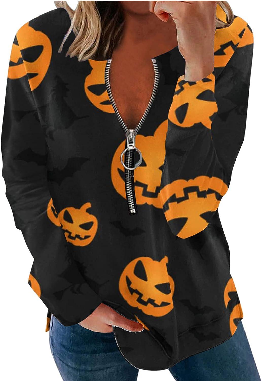 Halloween Omaha Mall Half Zipper Sweatshirts Coat Women discount for Humorous Funny